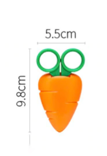 Mini Scissors - Carrot-Description: These colourful scissors by Lemonade are lightweight & super handy for opening food packages and other kitchen products. Dimension: 9.5 × 5 × 1 cms Sold individually with the cover.-LemonadeIndia
