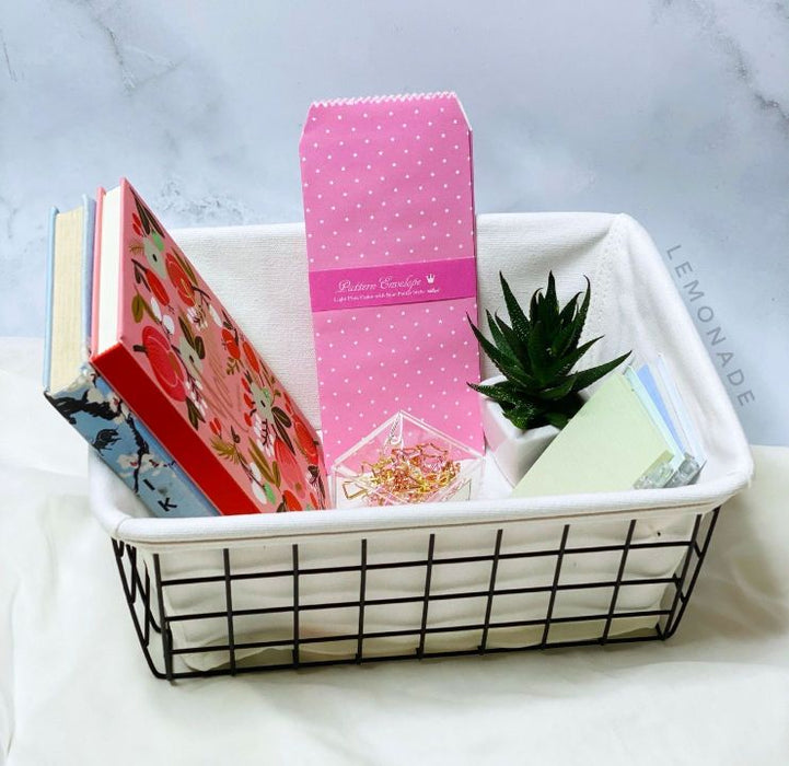 Organizer - Metallic Basket With Canvas - Black-Description: This multi-purpose basket helps you declutter your storage space, organize your belongings & serves as a great decor item in your room! Sold Individually. Dimensions: 6 x 3 Inches-Default Tittle-LemonadeIndia