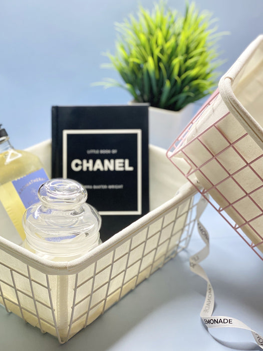 Organizer - Metallic Basket With Canvas