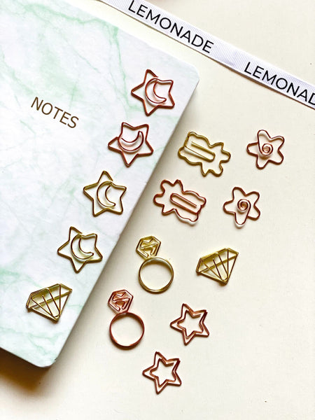 Paper Clips / Bookmark Set of 6 - Diamond Ring - Gold-Description: A stunning set of 6 paperclips from Lemonade that can also be used as Bookmarks. Declutter your office space in a stylish way! Dimensions: H - 1.5 Inches Sold as a set of 6.-Default Tittle-LemonadeIndia