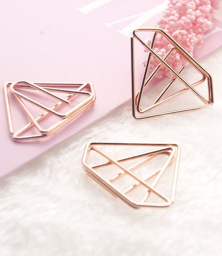 Paper Clips / Bookmark Set of 6 - Diamond - Gold-Description: A stunning set of 6 paperclips from Lemonade that can also be used as Bookmarks. Declutter your office space in a stylish way! Dimensions: H - 1 Inch Sold as a set of 6.-Default Tittle-LemonadeIndia