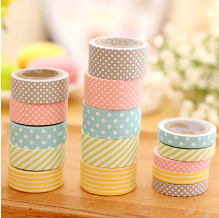 Printed Washi Tapes - Set of 5-Description: This Set of 5 Printed Washi Tapes by Lemonade will add beauty to all your craft projects. They can be used by both kids and adults. The environment-friendly tapes are made of high-quality decorative paper which is easy to peel and leaves no sticky residue when you remove it from the wall. Get creative with these print washi tape by wrapping cute presents, adding images to your journal, or even making art on your playroom walls! Sold as a set of 5 tapes