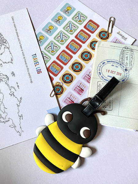Quirky Travel Luggage tag - Queen Bee-Description: Our super colourful and quirky luggage tags from Lemonade will ensure that your bag stands out through a pool of a million bags at the airport.These luggage tags feature colourful designs + has slots for you to fill your name,address,contact number and email. Sold Individually. Dimension: H - 10 cms-Default Tittle-LemonadeIndia