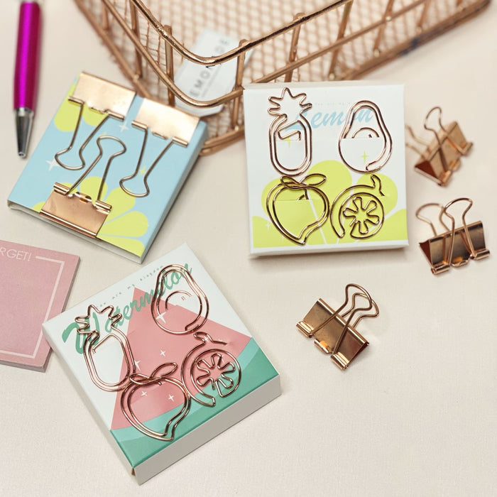 Rose Gold Fruit Paperclips - With Binder Clips - Set of 7