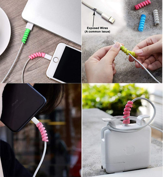 Spiral Cable Protector - Set of 4-Description: Solving one first world problem at a time. Use this to ensure your wire (chargers or earphones) don't break. Material: Made of durable Hardened high-grade siliconeEach set contains 4 assorted Cable Protectors.-Default Tittle-LemonadeIndia