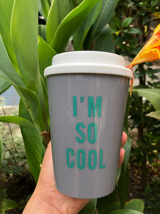 Travel Mug - I'm So Cool - Grey-Description: These super portable + chic Travel Mugs from Lemonade ensure you eliminate all single-use plastic in the most stylish manner.BPA & lead-free mug along with a spill-proof silicone lid. Sold individually. Capacity: 300 ml Additional Information: We recommend hand wash only.Not suitable for hot liquids.-Default Tittle-LemonadeIndia