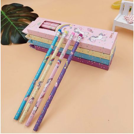 Unicorn Pencils - Set of 12-Description: How adorably cute are these Unicorn Pencils by Lemonade! They're a unique gift for your loved ones for daily usage or a great idea as a return gift! Trust us, your little ones are going to love them! It is made with superior bonded lead which is strong & resists breakage. Sold as a set of 12 pencils & erasers attached to the pencils. Dimensions: H - 7.5 Inches approximately-Yellow-LemonadeIndia