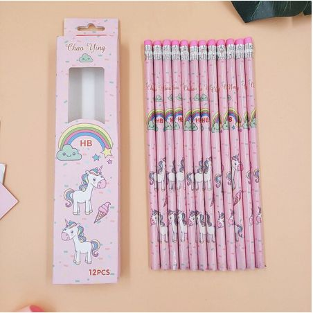 Unicorn Pencils - Set of 12-Description: How adorably cute are these Unicorn Pencils by Lemonade! They're a unique gift for your loved ones for daily usage or a great idea as a return gift! Trust us, your little ones are going to love them! It is made with superior bonded lead which is strong & resists breakage. Sold as a set of 12 pencils & erasers attached to the pencils. Dimensions: H - 7.5 Inches approximately-Pink-LemonadeIndia