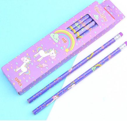 Unicorn Pencils - Set of 12-Description: How adorably cute are these Unicorn Pencils by Lemonade! They're a unique gift for your loved ones for daily usage or a great idea as a return gift! Trust us, your little ones are going to love them! It is made with superior bonded lead which is strong & resists breakage. Sold as a set of 12 pencils & erasers attached to the pencils. Dimensions: H - 7.5 Inches approximately-Purple-LemonadeIndia
