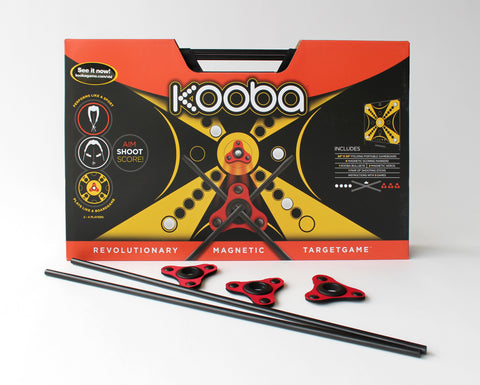 KOOBA game board with aeros and sticks in front.