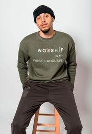 WORSHIP Is My First Language Green Crewneck - Stained Glass Apparel