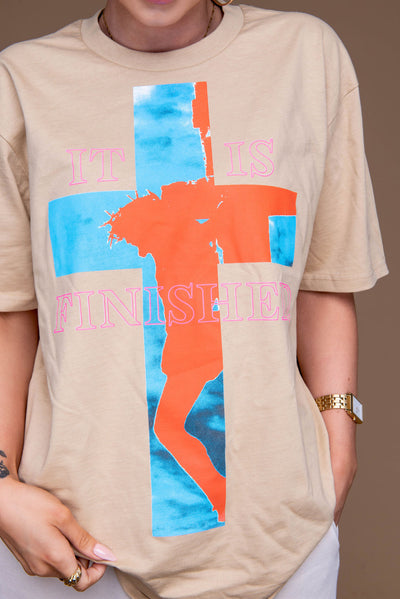 It Is Finished Tee - TAN - Stained Glass Apparel