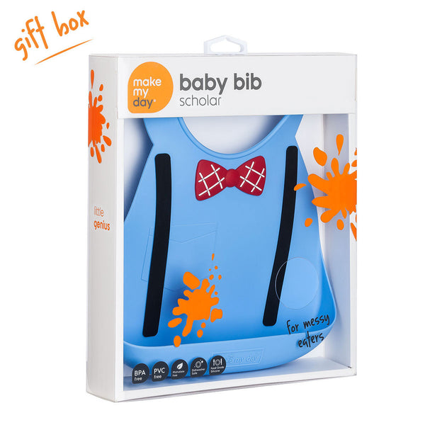 Make My Day Bib - Little Genius Scholar Blue (2)