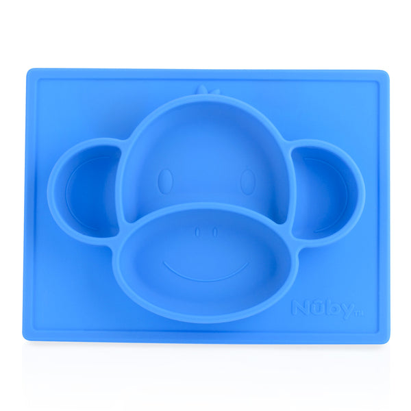 Nuby Sure Grip Mini Silicone Placemat - Blue Monkey