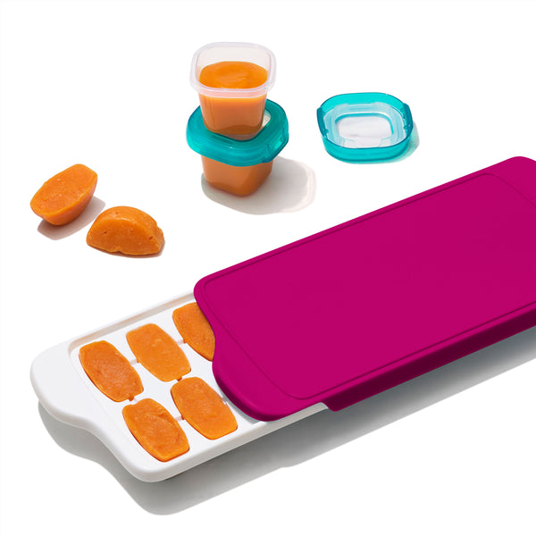 OXO TOT Baby Food Freezer Tray with Silicone Lid - Pink (1)