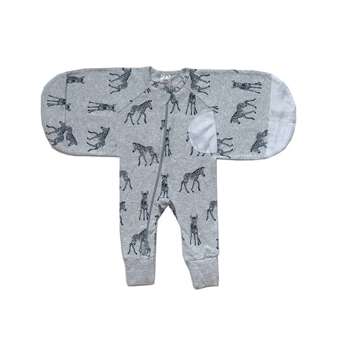 Plum Sketch Zebra 1.0 TOG Swaddle Suit - Large