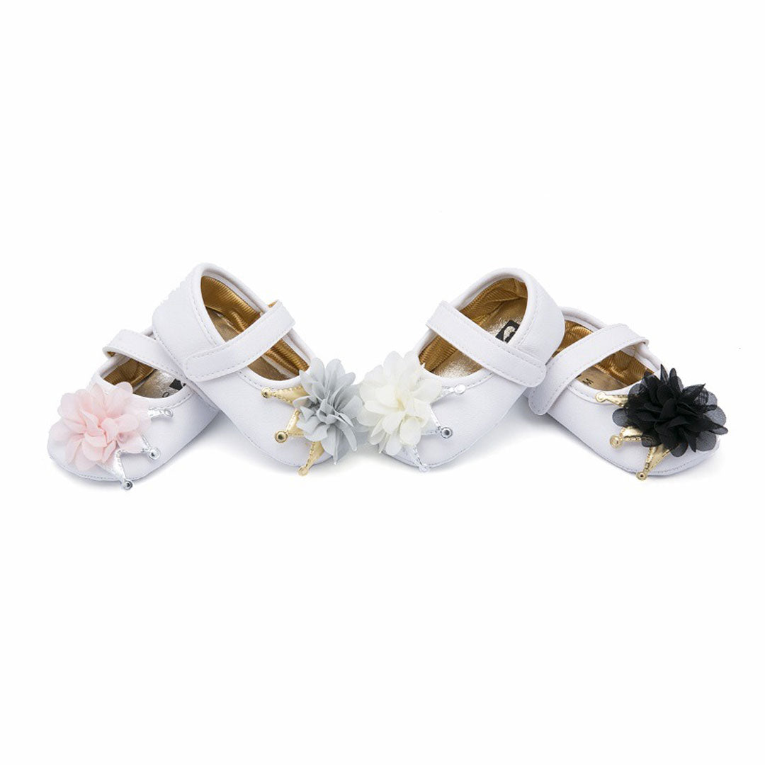 Baby White/Black Flower Pumps (Pre-Walker)