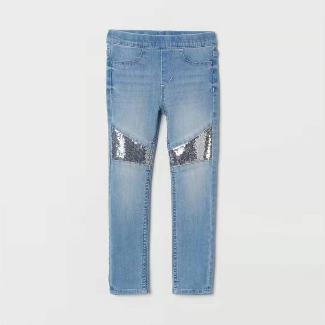 H&M Denim Jagging Silver Sequence