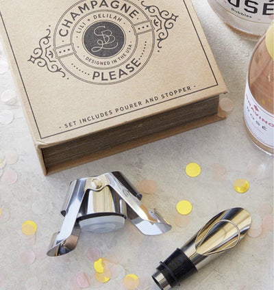 Champagne stopper and pourer gift set will prolong the bubbles in your favorite champagne!  Great Unique Gift!