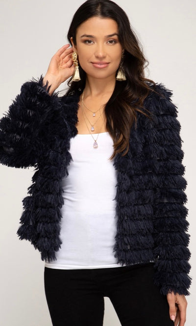 Chic and snuggly, our Montana jacket is a Fall/Winter must-have. Featuring a layered, shaggy fur look, it's ultra soft and we can guarantee you won't want to take it off. Perfect thrown over a mini dress with knee-high boots for a night out on the town or dress it down with a simple turtleneck and jeans. Cute!