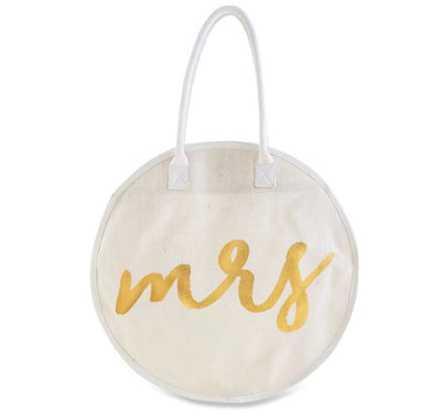 This Mrs. Round Tote with a button snap is perfect for a bride!