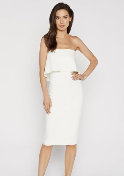 This white strapless midi dress is great for rehearsal dinners to honeymoon outings.