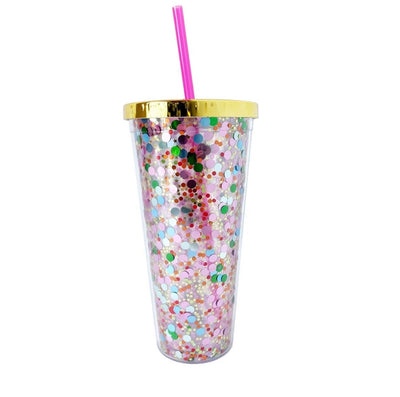 The Confetti Tumbler makes any party more fun!  Pink? Green? Oranges? Blues and even stars too - this tumbler has 'em all! Keep desk side as a reminder to drink your H20 or gift it to that extra fun friend to show some love. Great gift for bridesmaids!  Use for your bachelorette parties, and a take home party favor!  Cheers to that!