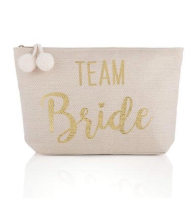This Team Bride Pink Pouch with a zipper is perfect for bachelorette weekends or toting things around on the big day.