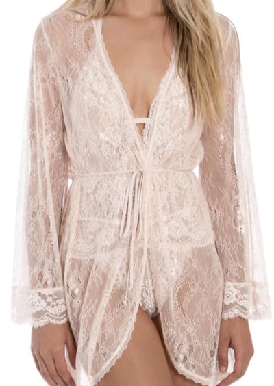 Long bell sleeves frame a sultry sheer wrap in romantic floral lace. Champange blush color.  Three-quarter sleeves. Tie belt. 100% nylon. Machine wash, tumble dry. Imported.