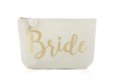 This white bride pouch with zip closure is perfect for a bachelorette weekend or toting around items on the big day!