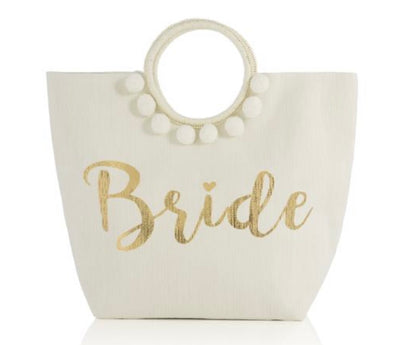 The white bride tote bag with lined zipper pocket will keep you organized during  all your wedding planning!