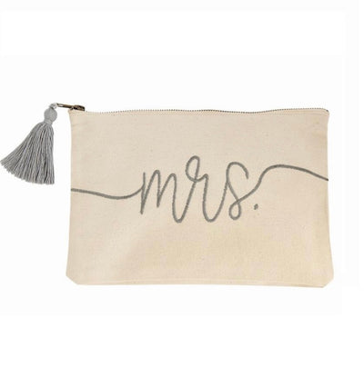 "This Gray and Cream ""Mrs"" Pouch with zipper closure is perfect for a bride on her bachelorette weekend, big day, or honey moon!"