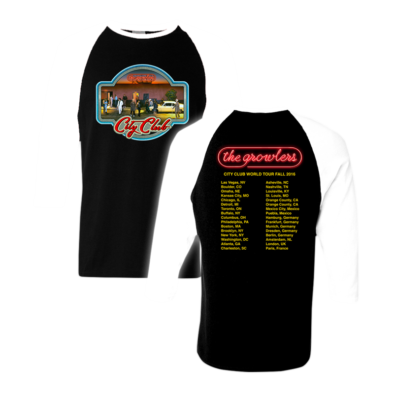 City Club Fall Tour 2016 Iron-On Baseball T-Shirt - The Growlers - 1