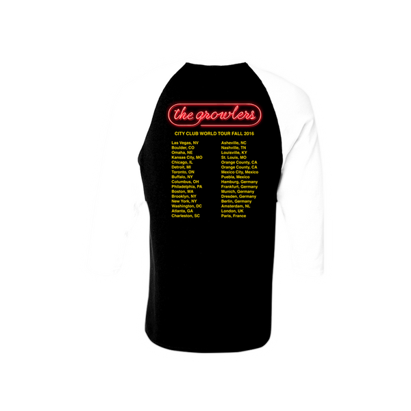 City Club Fall Tour 2016 Iron-On Baseball T-Shirt - The Growlers - 3