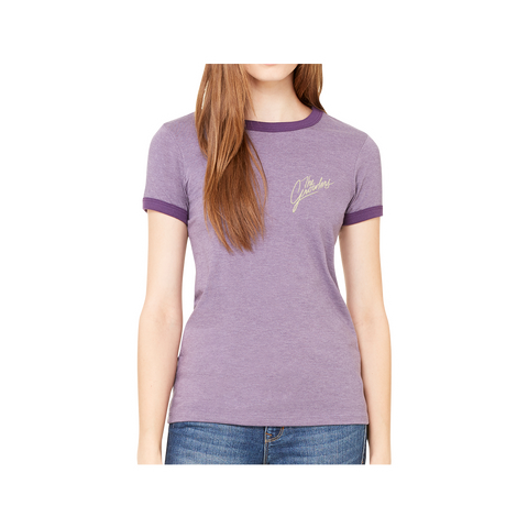 Cursive Embroidered Women's Ringer