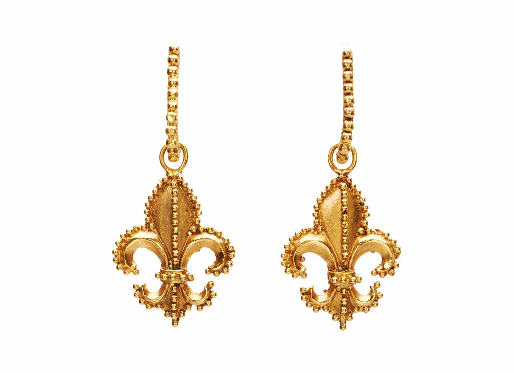 Beaded Fleur de Lis Earrings