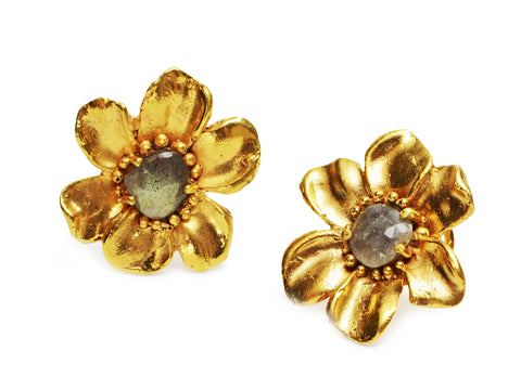 Cast Flower Earclips