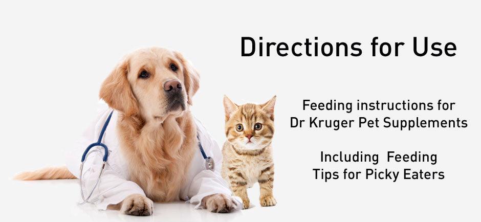 Dr Kruger Pet Supplements - Directions for Use