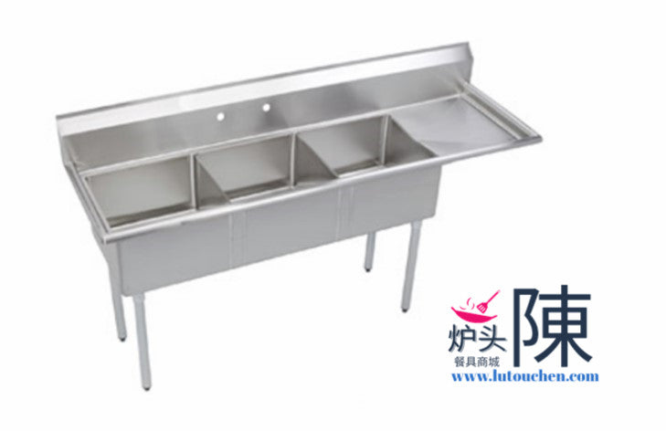 餐馆三眼水槽带右排水板 2020-3R Three Compartment Sink With Right Drainboard