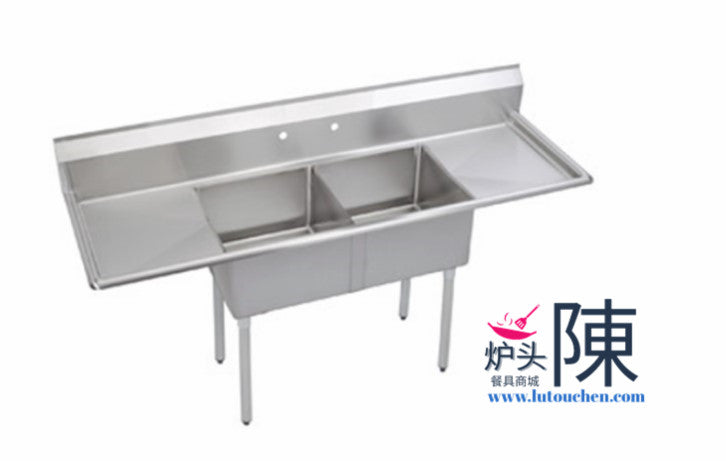 餐馆双眼水槽带左右排水板 1824-2RL Two Compartment Sink With Two Drainboard