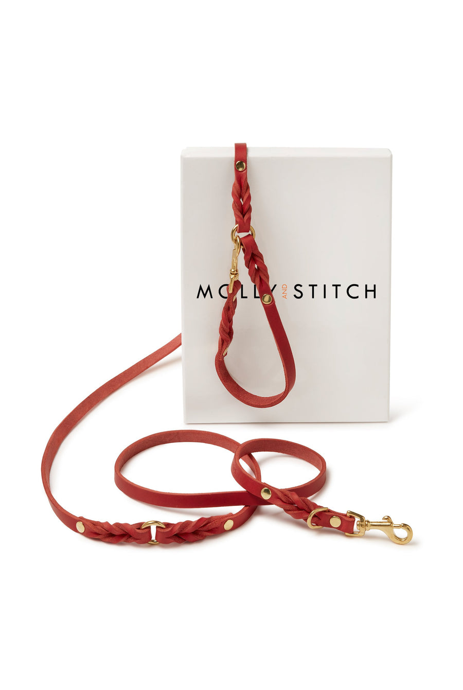 Butter Leather 3x Adjustable Dog Leash - Chili Red