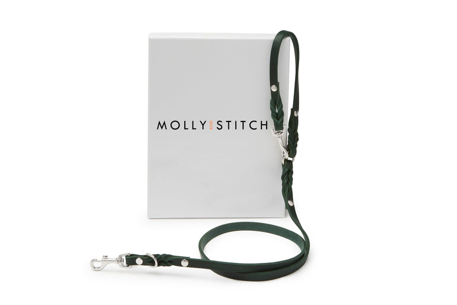 Butter Leather 2x Adjustable Dog Leash - Forest Green