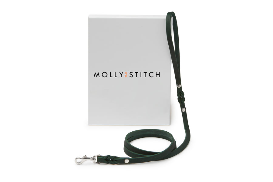 Butter Leather City Dog Leash - Forest Green