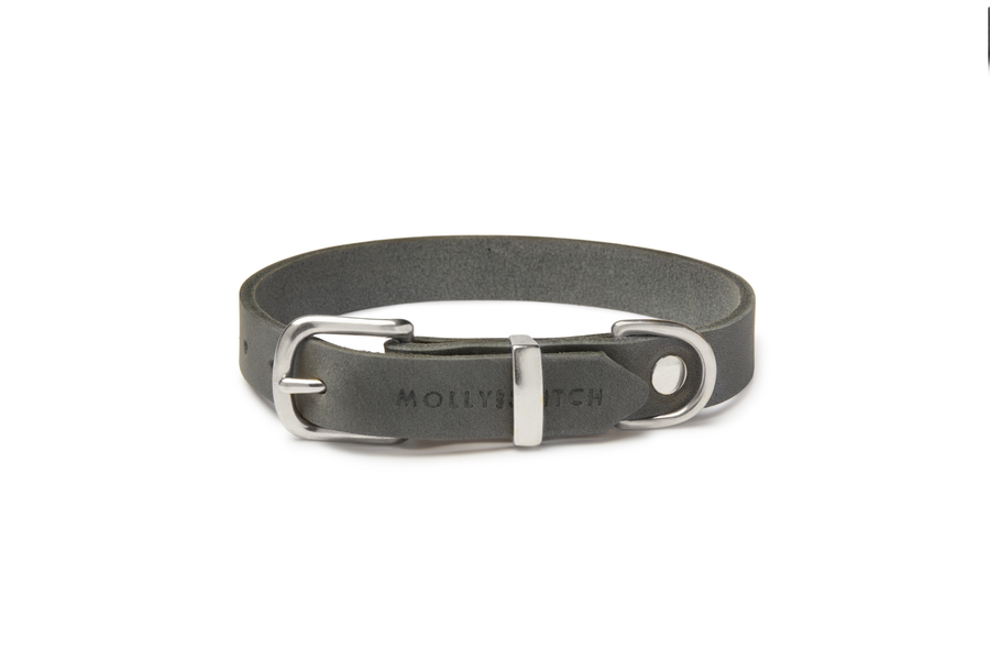 Butter Leather Dog Collar - Timeless Grey