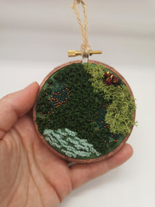 Hand Embroidered Hoop - 3 inch hoop - Moss with Copper Beads