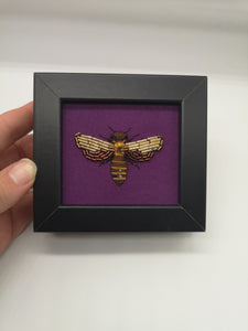 Handmade Beaded Bee Embroidery - Framed