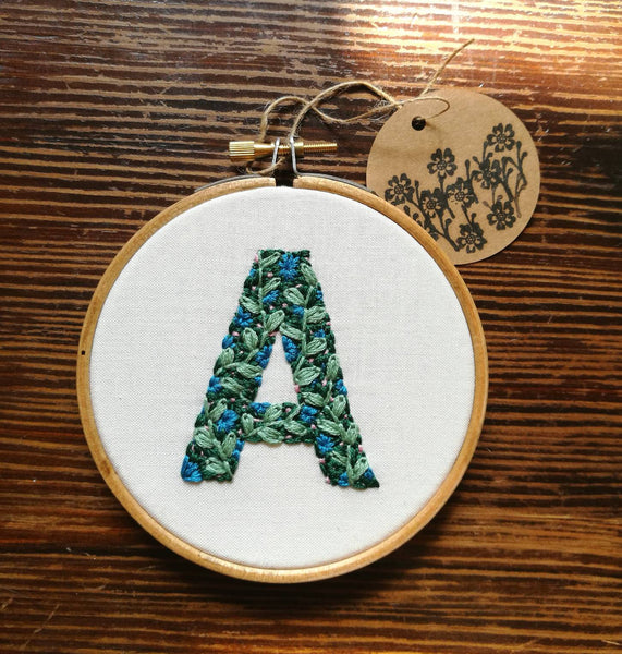 Hand Embroidered Personalised Flower Initial Hoop - 4 inch hoop - A available now