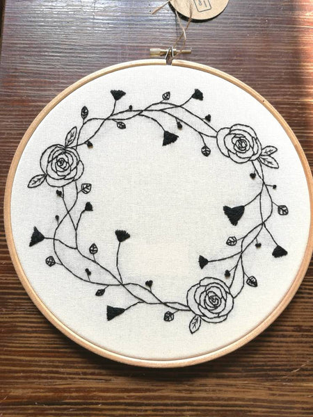 Hand Embroidered Hoop - 8 inch hoop - Black Work Flowers