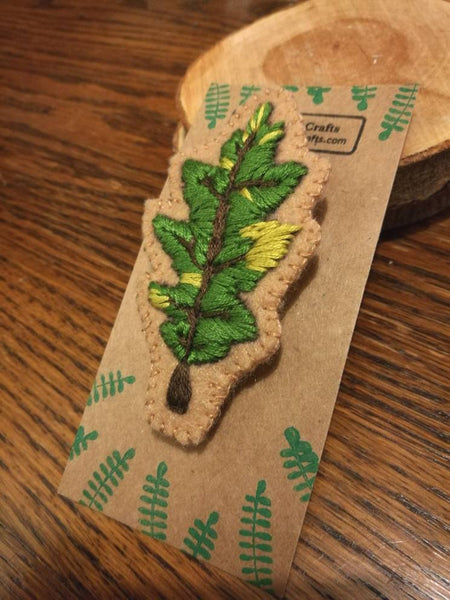 Hand Sewn Embroidered Oak Leaf Brooch