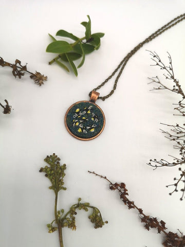 Hand Embroidered Bee Pendant Necklace